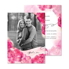 Watercolor Peonies Photo Save the Date