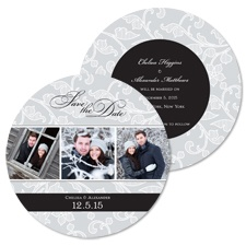 Floral Filigree Photo Save the Date - Black