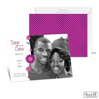 Dots and Daisies Photo Save the Date - Amethyst