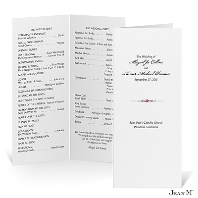 Tea Length Wedding Program- White