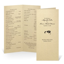 Tea Length Wedding Program - Champagne Shimmer
