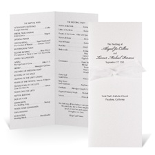 Tea Length Wedding Program - White Shimmer