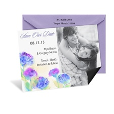 Watercolor Blooms Photo Save the Date Magnet