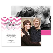 Faded Chevron Photo Save the Date - Fuchsia