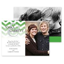 Faded Chevron Photo Save the Date - Grass