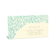 Vintage Damask Reception Card - Aqua