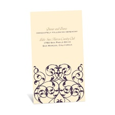 Vine Monogram Reception Card - Ecru