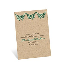 Paisley Star Reception Card - Peacock