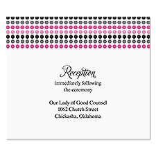 Dotted Stripes Reception Card - Bubble Gum