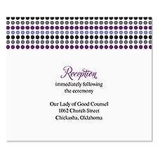 Dotted Stripes Reception Card - Orchid