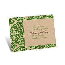 Rustic Damask Reception Card