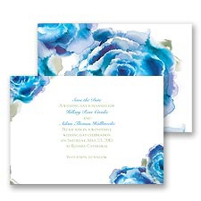 Rosy Watercolors Save the Date - Blue
