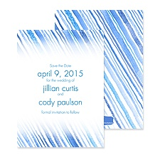 Watercolor Stripes Save the Date - Blue