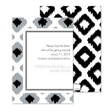 Ikat Diamonds Save the Date - Black