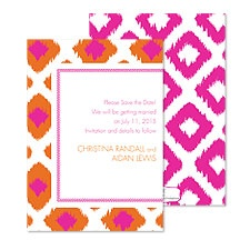 Ikat Diamonds Save the Date - Fuchsia