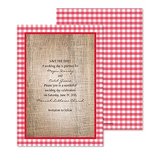 Love Gingham Save the Date - Cherry
