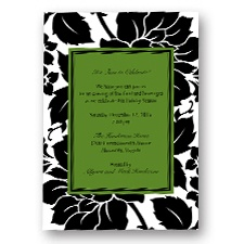 Black and White Blossoms Holiday Invitation