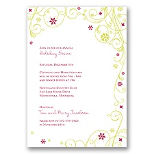 Swirling Snowflakes Holiday Invitation