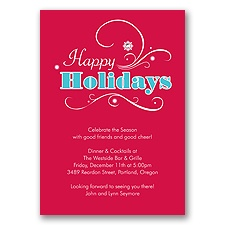 Seasonal Flourish Holiday Invitation - Happy Holidays