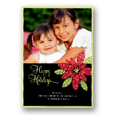Mosaic Poinsettia Layered Photo Holiday Card