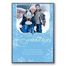 Snowflake Crest Layered Photo Holiday Card
