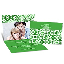 Ikat Style Seal and Send Photo Holiday Card - Grass