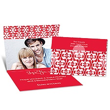 Ikat Style Seal and Send Photo Holiday Card - Cherry