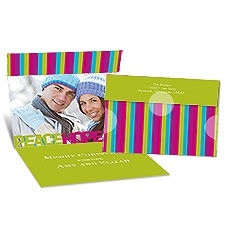 Striped Wishes Seal and Send Photo Holiday Card - Granny Apple