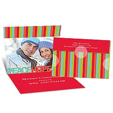 Striped Wishes Seal and Send Photo Holiday Card - Cherry