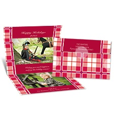 Festive Plaid Seal and Send Photo Holiday Card - Merlot