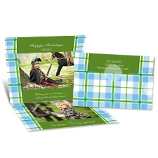 Festive Plaid Seal and Send Photo Holiday Card - Cloverleaf