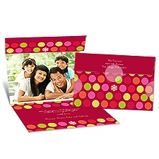 Dot Delight Seal and Send Photo Holiday Card - Merlot