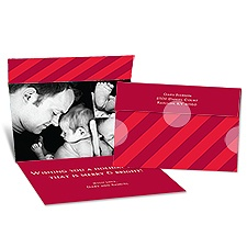 Big Stripes Seal and Send Photo Holiday Card - Merlot