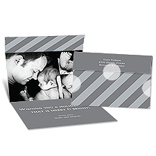 Big Stripes Seal and Send Photo Holiday Card - Pewter