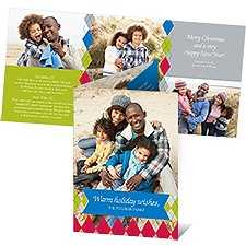 Colorful Argyle Photo Holiday Card