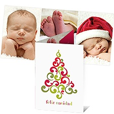 Filigree Tree Photo Holiday Card - Spanish
