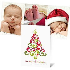Filigree Tree Photo Holiday Card - English