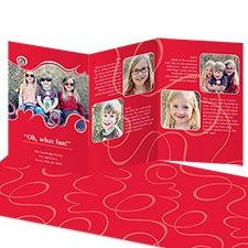 Oh What Fun Storyline Photo Holiday Card - Cherry