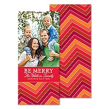 Merry Chevron Tea Length Photo Holiday Card - Cherry