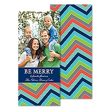 Merry Chevron Tea Length Photo Holiday Card - Eclipse