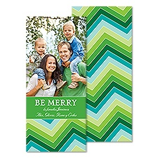 Merry Chevron Tea Length Photo Holiday Card - Grass
