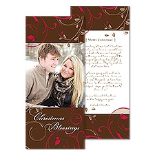 Leafy Flourish Tea Length Photo Holiday Card