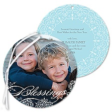 Snowflake Filigree Photo Holiday Card Ornament - Blessings