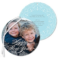 Snowflake Filigree Photo Holiday Card Ornament - Happy New Year