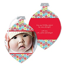 Posie Flakes Photo Holiday Card Ornament - Cherry