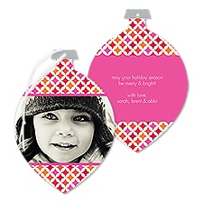 Diamond Bright Photo Holiday Card Ornament - Fuchsia