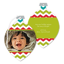 Bright Chevron Photo Holiday Card Ornament - Granny Apple