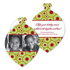 Mod Dots Photo Holiday Card Ornament