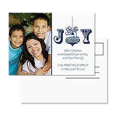 Ornamental Joy Photo Holiday Postcard
