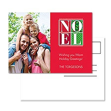Bold Noel Photo Holiday Postcard